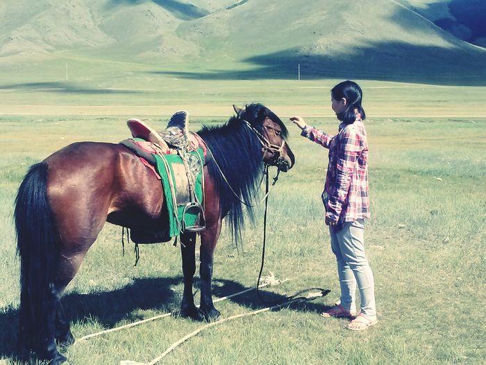 Hello World Mongolian Horse That's Me Taking Photos Mongolian Nature Enjoying Life Green Land