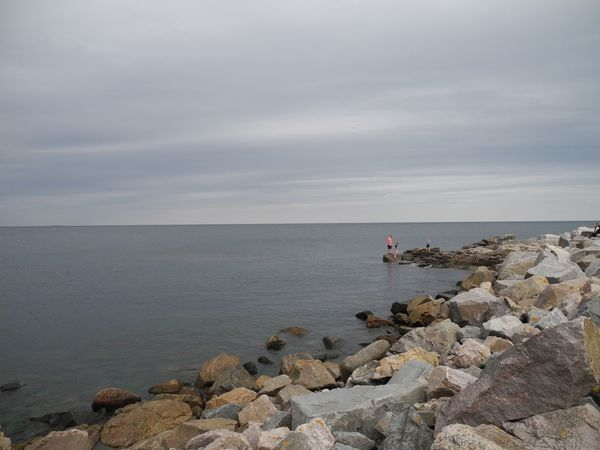 The Baltic Sea at the Rocky Shore of Bornholm Island in Denmark - Sea Horizon Over Water Water Nature Outdoors Day Cloudy Sky Rock Rocky Rock Formation Østersøen Hav Klippesten Sten Baltic Baltic Sea - at The Baltic Sea, Bornholm in Denmark
