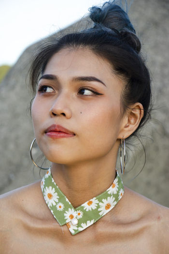 Close-up portrait of a young woman