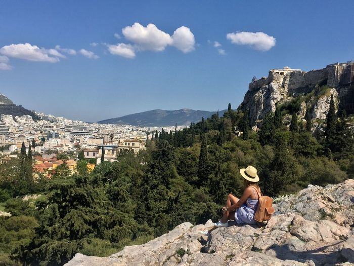 Be open to new adventures Day Two People Architecture Rock - Object Sky Leisure Activity Built Structure Mountain Nature Real People Outdoors Women Cloud - Sky Building Exterior Lifestyles Sitting Beauty In Nature Athens