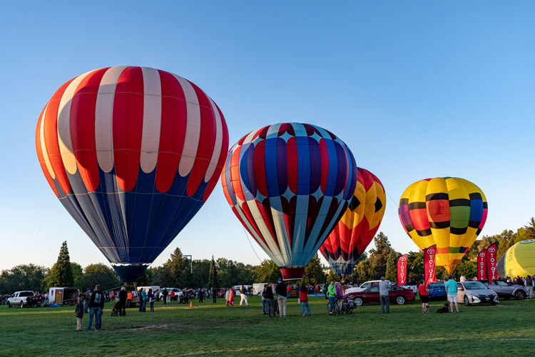 View of hot air balloons on field against clear sky
