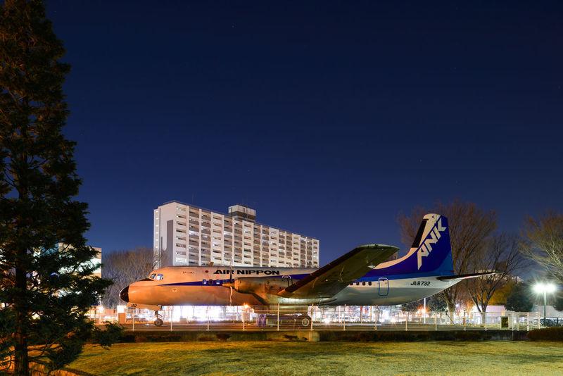 Air Vehicle Airplane Blue City Clear Sky Deep Night Outdoors Transportation Urban YS11