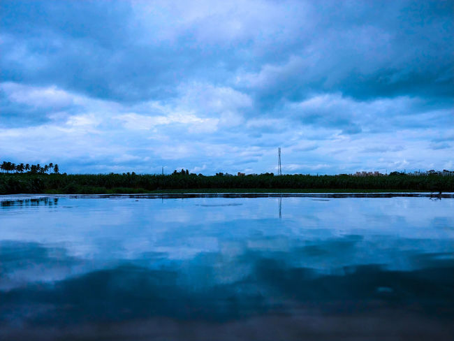 A cloudy day is no match for a sunny disposition. Mobilephotography Lgv30+ LGV30photography Serenity EyeEmNewHere Tree Water Lake Sunset Social Issues Reflection Sky Landscape Cloud - Sky Calm Remote Tranquil Scene Tranquility Horizon Over Water Scenics