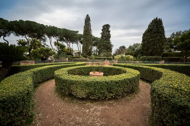 View of formal garden in park