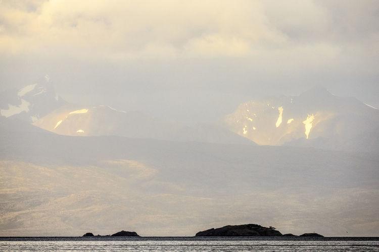 Like a mirage Chile Cloud - Sky Day Fog Mountain Mountain Peak Mountain Range Nature Photography No People Outdoors Sea Sky Water