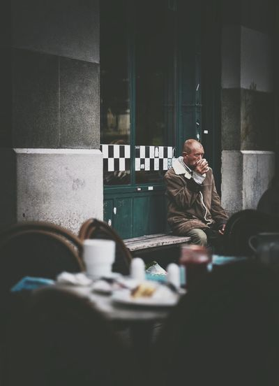 Food And Drink Coffee - Drink Drink Indoors  Sitting Coffee Cup Real People Food Breakfast Cafe Lifestyles Men Day Freshness Adult People Homeless Street Streetphotography Krakow Cracow EyeEm Gallery The Week On Eyem EyeEm Selects EyeEm Best Edits Your Ticket To Europe