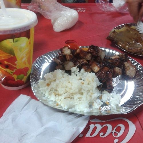 dami ng Liempo hihi + Buko + isa pang ulam for dinner with mommy and ate here at bancheto trinoma
