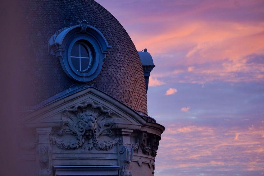 Rotonde Haussmann, rue de Miromensil, Paris VIII Haussmann Miromesnil Orange Pink Roof Rooftop Architecture Ardoise Blue Building Exterior Built Structure Classical Day Focus No People Outdoors Parisian Pierre Rotonde Sky Sunrise Zoom