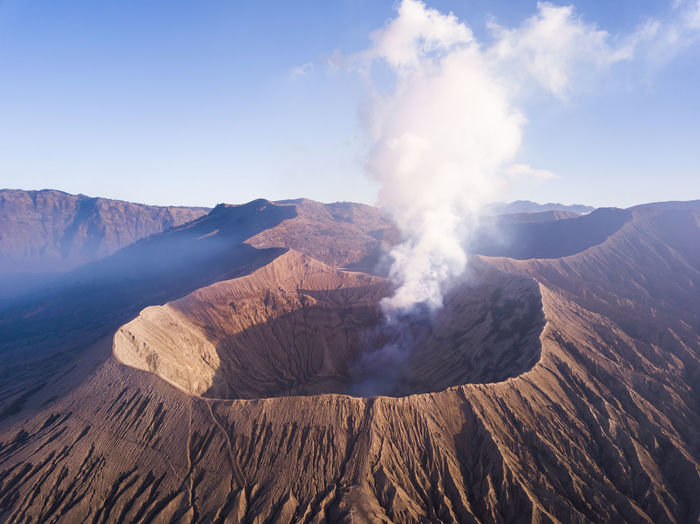 Panoramic view of volcanic mountain