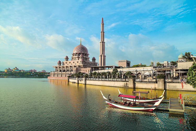 Water City Architecture Sky Building Exterior Outdoors Putrajaya, Malaysia Travel Destinations Modern Architecture Reflection Putrajaya Mosque