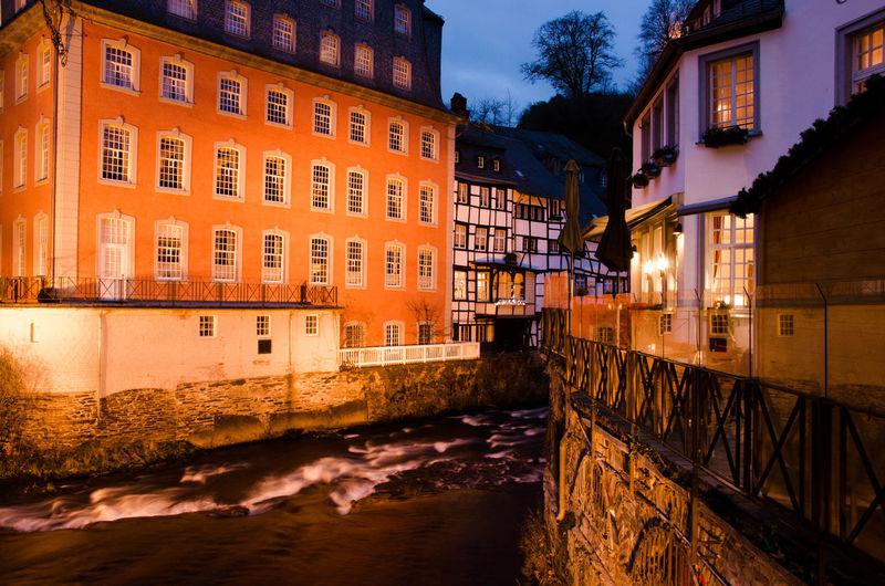 Abend Eifel Germany Monschau Monschau Eifel Germany Sonnenuntergang Abendstimmung Built Structure Canal City Eifel House Long Exposure River Water