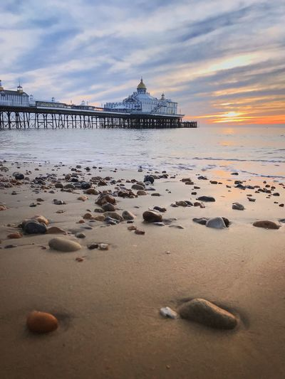 East Sussex Eastbourne Pier Architecture Beach Horizon Over Water Outdoors Pebbles Pebbles On A Beach Sea Tranquility Water