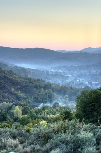 Distant Forest Green Green Hill Landscape Mountain Mountain Range Outdoors Sunset Valley