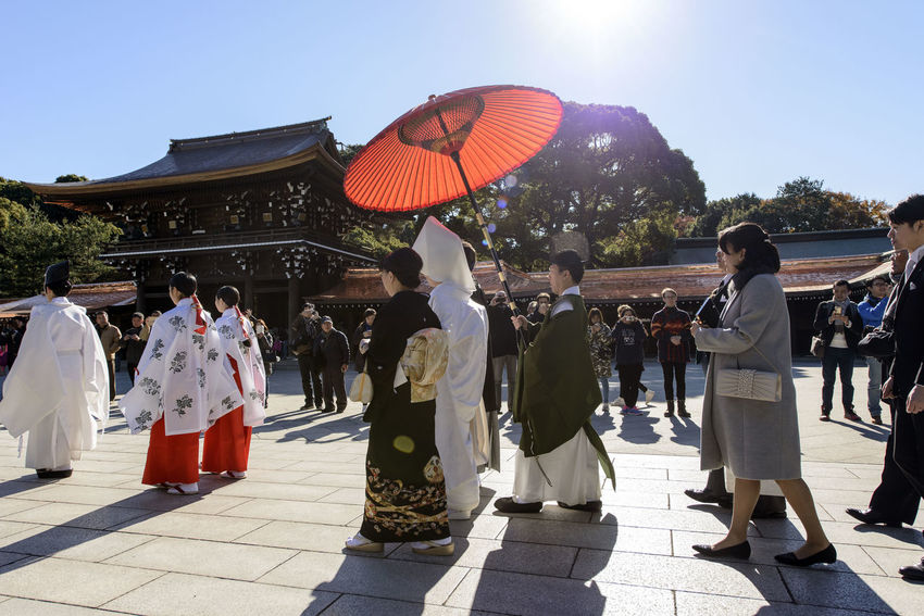 Bride Bride And Groom Japan Japanese Culture Japanese Wedding Place Of Worship Red Umbrella Temple Tokyo Wedding