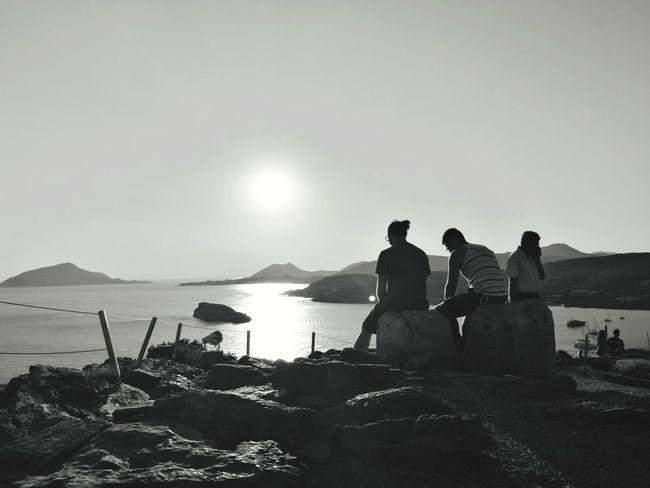 Greece Sounio Water Men Sea Beach Silhouette Clear Sky Full Length Friend