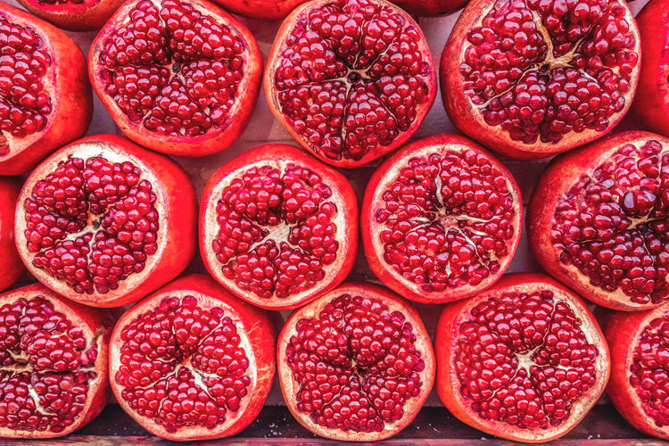 Full Frame Shot Of Pomegranate In Market Stall
