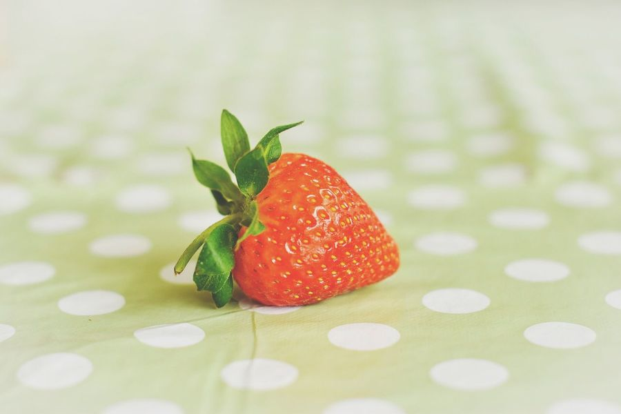 Lonely Strawberry 🍓 Strawberry Food Foodporn Foodphotography Food And Drink Hungry Strawberry Love Polkadots Polka Polka Dots  Strawberrys Yummy Red Strawberries Fine Art Photography Colors And Patterns