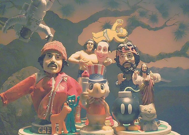 Group Photo Groupphoto Toysphotography Toys Cheech Chong Chong PeeWeeHerman Andre The Giant Spaceman Homersimpson Buddychrist Bombom Gumbyandpokey Kittycat Painted Wall Painted Background Posing For The Camera Posing Group Of Objects Cheech & Chong