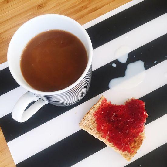 Breakfast Stripes Everywhere Blackandwhite Black And White Black&white Marmelade Milk Spill Coffee Cup Coffecup Contrast