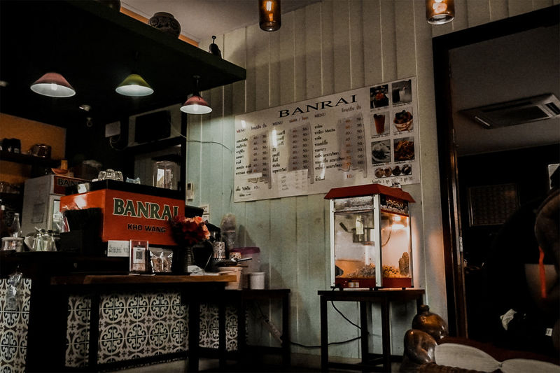 View of illuminated restaurant