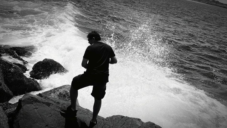 Blackandwhite Fishing Fisherman Rockfishing Waves Crashing Beachwavesspray Danger!
