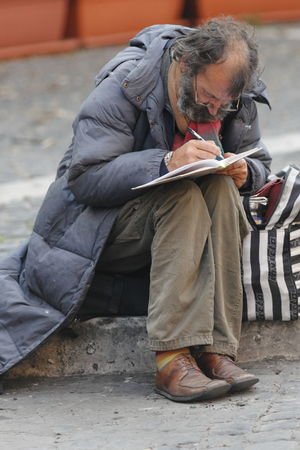 Uniqueness One Man Only One Person Sitting Outdoors Social Issues Day Italy Rome Solitude And Silence Sadness Real People Portrait Depression - Sadness Wrinkles Of A Long Life Lived Wrinkle Of Life Oldness Mature Adult People Senior Adult Sitting Wrinkles Poet Street Poet Street Poetry