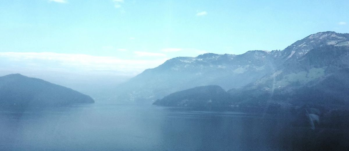 Lake with Dust and beautiful Mountains during my bus trip to rome
