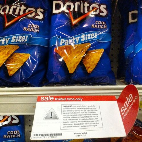 GMO Doritos on Sale for a limited time! Labelityourself noGMO FuckMonsanto fuckDoritos Monsanto cornchips tortillas frankenfood Make Some Anti GMO Awareness stickers and hit Walmart Target Kmart Supermarkets 711 anywhere GMO's are sold!