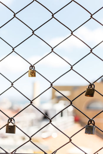 Chainlink Fence Close-up Day Focus On Foreground Full Frame Lock Love Lock Metal Nature No People Outdoors Padlock Protection Safety Security Sky Water