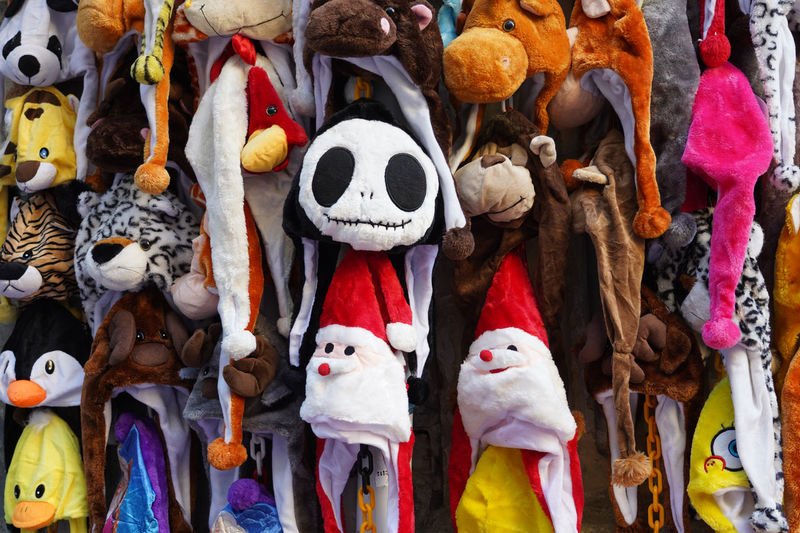 Various toys for sale at market stall