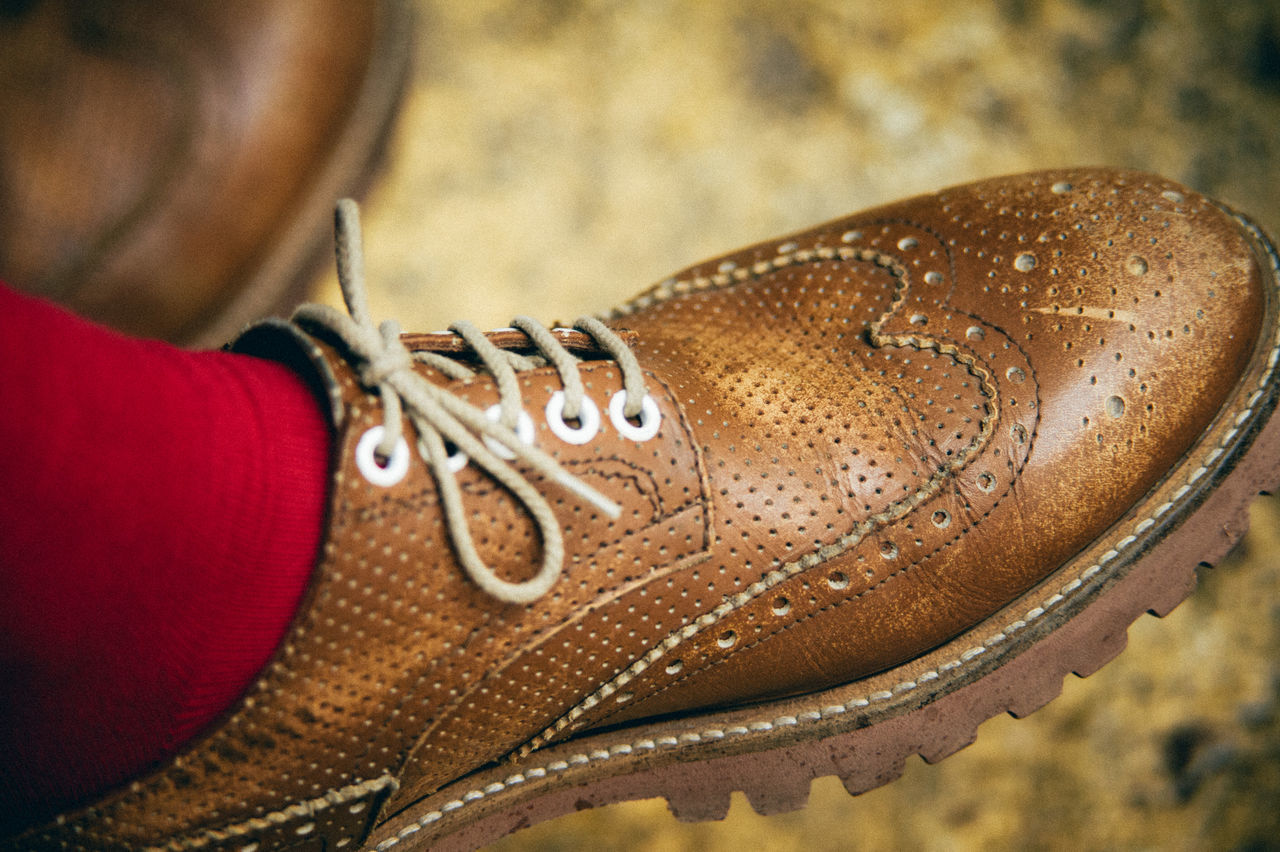 real people, one person, human body part, close-up, human leg, shoe, low section, indoors, focus on foreground, fashion, human hand, men, lifestyles, day, women, people