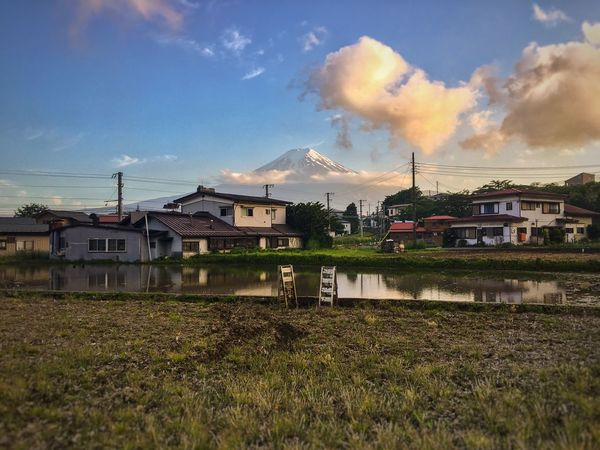 Fuji view from village Architecture Building Exterior Built Structure Sky House Cloud - Sky Residential Building No People Day Outdoors Landscape Mountain City Grass Nature Cityscape Tree fuji