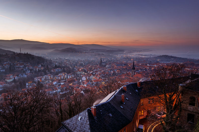 Architecture Building Exterior City Built Structure Cityscape Sky Building High Angle View Nature Mountain No People Residential District Tree Sunset Scenics - Nature Beauty In Nature Orange Color Autumn Outdoors Change TOWNSCAPE Skyscraper Wernigerode Harzmountains