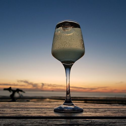Newbrighton view from the Harvester Newbrighton New Brighton New Brighton Harvester Wineglass Alcohol Drink Sunset Cold Temperature Drinking Glass Cocktail Wine Water Single Object