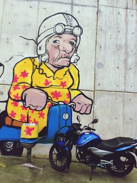 Grandpa Motorbike Blue Graffiti Streetphotography Comuna 13 Reality Oldman Colombia Newandold Wall Graffiti Art Drive Serious Harleydavidson Simple Streetart Iphonephotography Apple Iphone6+
