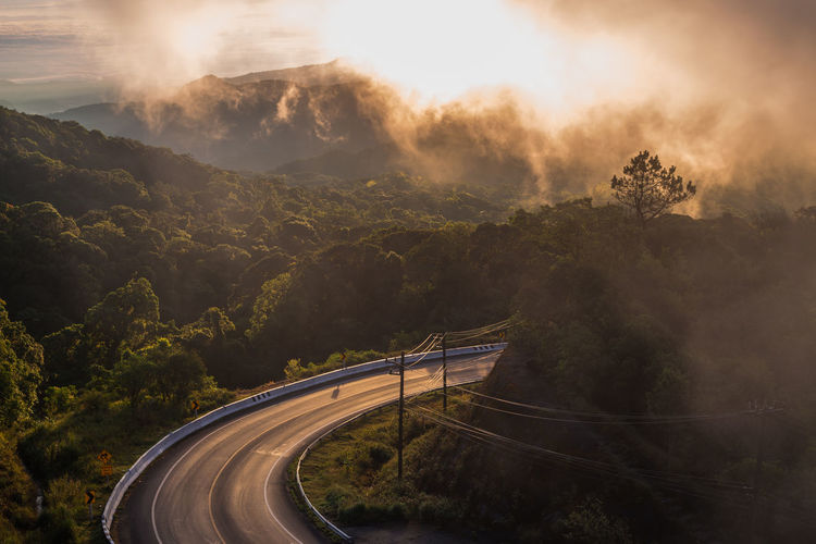 Mountain Tree Winding Road Road Fog Sky Landscape Mountain Road Light Trail Light Painting Empty Road Streaming Highway