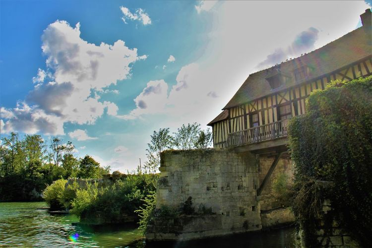 Normandie, France Old Bridge River View Architecture Building Exterior Built Structure Cloud - Sky House On River House On Water No People Outdoors Sky Tree Water