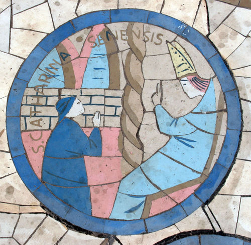 Saint Catherine of Siena, Mosaic in front of the church on the Mount of Beatitudes Beatitudes Belief Biblical  Catherine Catherine Of Siena Christianity Church Galilee Historical Holy Israel Jesus Middle East Mosaic Mount Religion Religious  Saint Sermon Shrine Siena Spiritual Stone