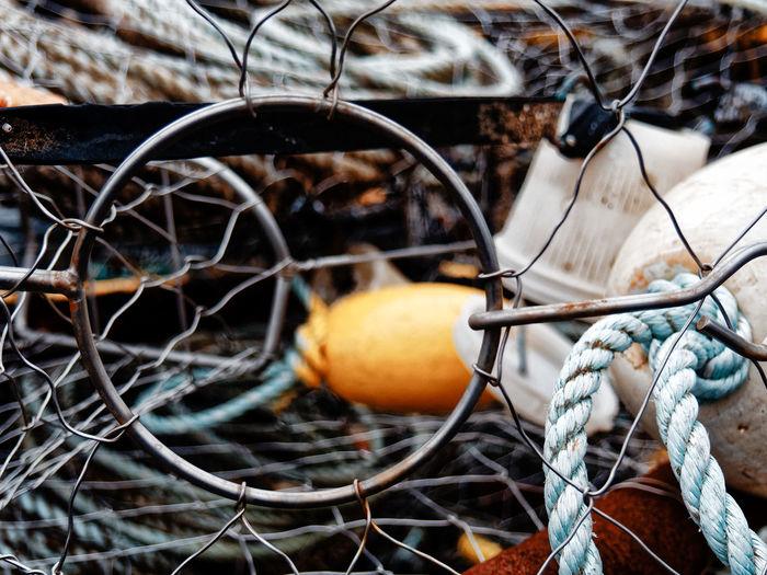 Close-up of fishing equipment