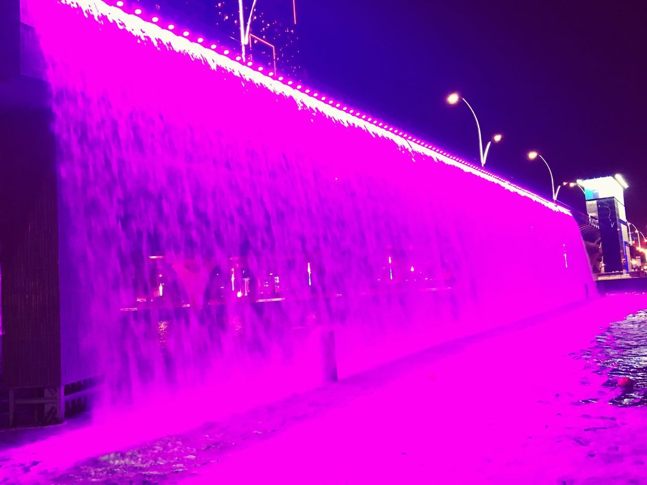 illuminated, night, cold temperature, winter, snow, lighting equipment, outdoors, real people, street light, neon, architecture, nature, sky
