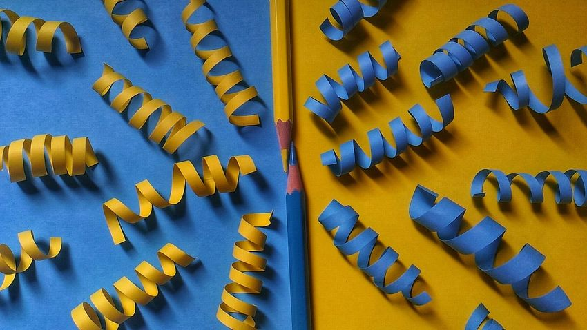 Blue Yellow Color Pencil Colour Colour Paper Papercraft Blue Communication No People Full Frame Day Indoors  Teamwork EyeEm Ready   EyeEmNewHere