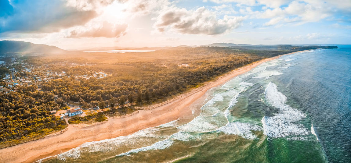 Aerial panoramic landscape of North Haven Beach in New South Wales, Australia Australia Coastline Drone  Inlet New South Wales  Panorama Panoramic Vivid Colours  Aerial Aerial View Beach Beauty In Nature Camden Inlet Cloud - Sky Day Drone Photography Environment Flowing Water Idyllic Land Landscape Motion Nature No People Non-urban Scene Ocean Outdoors Panoramic Scenics Scenics - Nature Sea Sky Sunset Tranquil Scene Tranquility Water