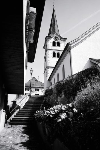 Lines Church Church Tower EyeEm Best Shots EyeEm Gallery EyeEm Selects Taking Photos Taking Pictures My Point Of View EyeEm Best Shots - Black + White Monochrome Blackandwhite Old Town Black And White Black & White Architectural Column Light And Shadow Switzerland Sky Architecture Building Exterior Building Steps And Staircases Historic Stairway Stairs