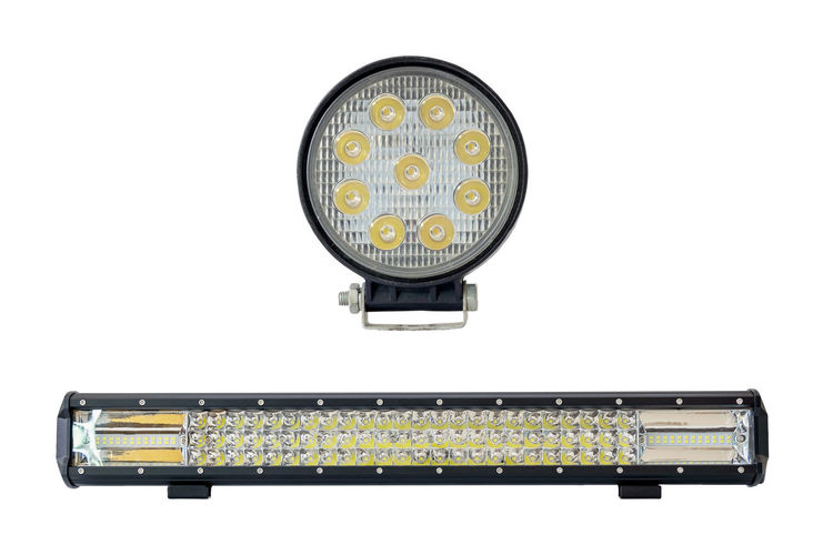 LED light bar for off road isolated on white background. White Background Technology Cut Out Computer Studio Shot Connection Indoors  No People Close-up Equipment Copy Space Electronics Industry Yellow Industry Electrical Equipment Headlight Diode Light Lamp Transportation New Space Power Bright Searchlight