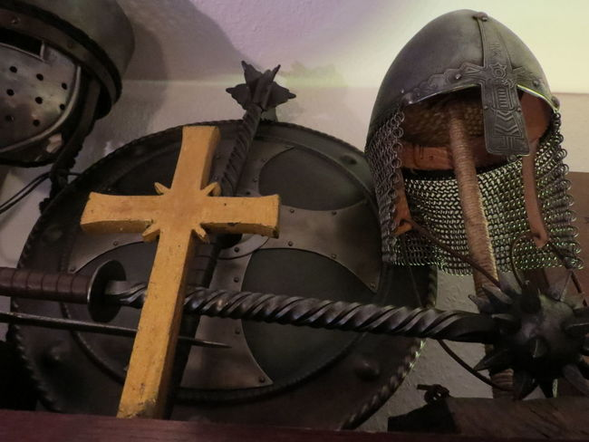 Ancient Armour Casque Collection Cross Crusader Historic History Mace Man Made Object Memories Old Weapon Place Of Worship Shield