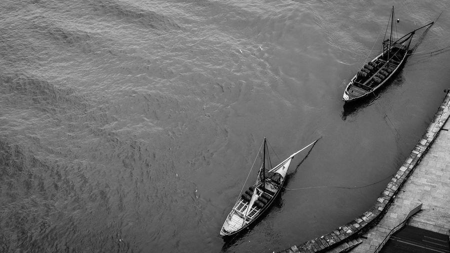 Black & White Black And White Blackandwhite Boat Day Duoro River Mode Of Transport Negative Space Porto Portugal River Riverbank Riverside Ship A Bird's Eye View