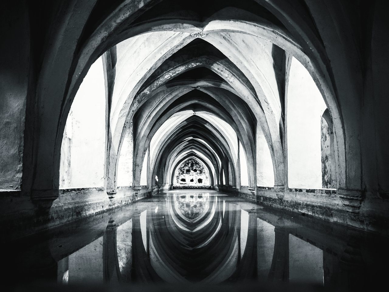 arch, water, reflection, built structure, architecture, indoors, day, no people