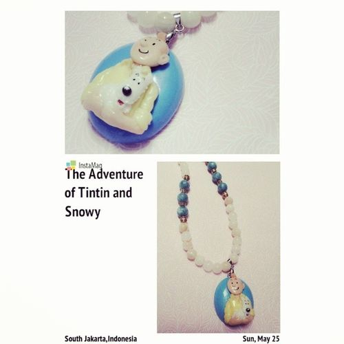 Tintin and Snowy Necklaces Tintinandsnowy Cuteaccessories Claypendant