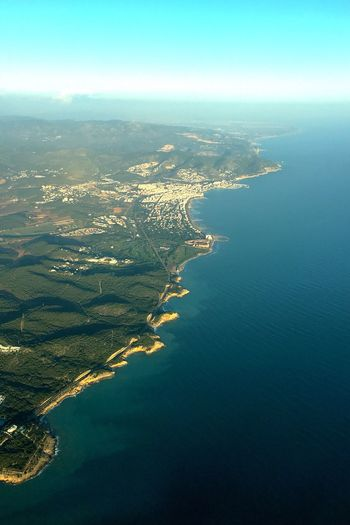 Sea Scenics Beauty In Nature Aerial View Nature Tranquility Water Tranquil Scene Sky Horizon Over Water Idyllic Outdoors No People Coastline Cityscape City Day Landscape View Into Land Mountain Spain ✈️🇪🇸 Sitges Barcelona España Sitges Sitges Beach