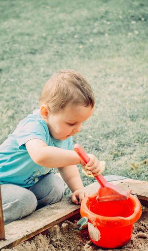 Cute boy playing
